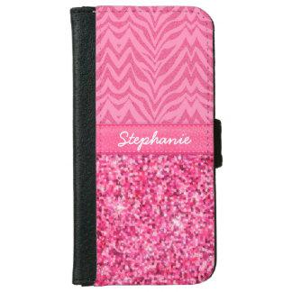 Cebra rosada glamorosa funda cartera para iPhone 6