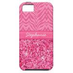Cebra rosada glamorosa iPhone 5 coberturas