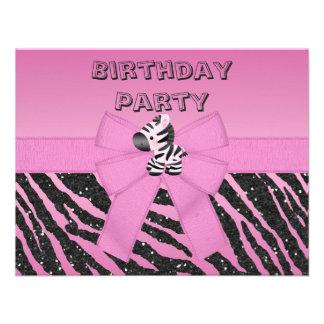 Cebra rosada linda y fiesta de cumpleaños impresa invitación