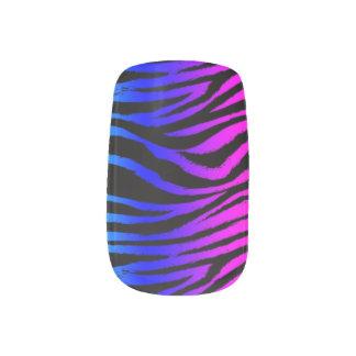 Cebra rosada y azul pegatina para manicura