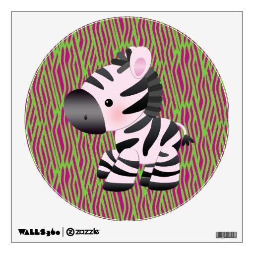 Cebra rosada y etiqueta enrrollada de la pared del