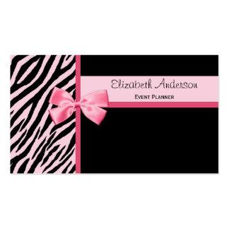 Cebra rosada y negra del planificador de eventos d tarjetas de visita