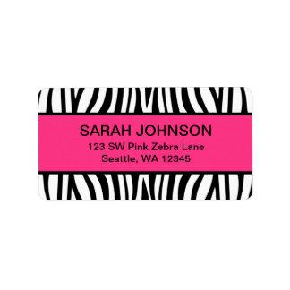 Cebra rosada y negra etiqueta de dirección