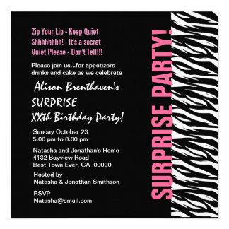 Cebra rosada y negra V054 del cumpleaños del año d Comunicado Personal