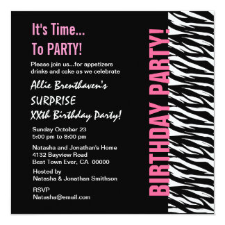 """Cebra rosada y negra V055 del cumpleaños de Invitación 5.25"""" X 5.25"""""""
