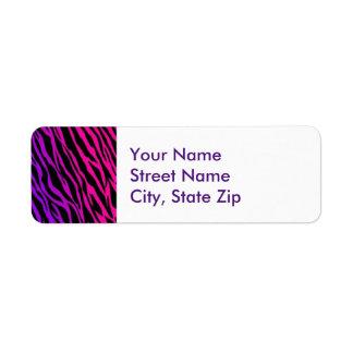 Cebra rosada y púrpura etiquetas de remite