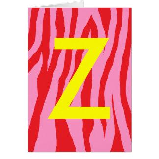 Cebra rosada y roja tarjeta de felicitación