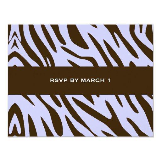 """cebra RSVP de Brown de la lila 311-Luxuriously Invitación 4.25"""" X 5.5"""""""