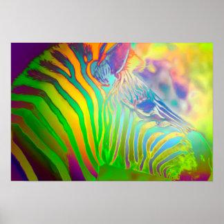 Cebra salvaje psicodélica de la vida póster