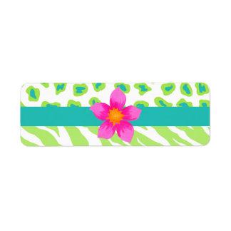 Cebra verde, del blanco y del trullo y flor del etiqueta de remite