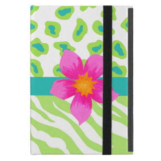 Cebra verde, del blanco y del trullo y flor del iPad mini cárcasas