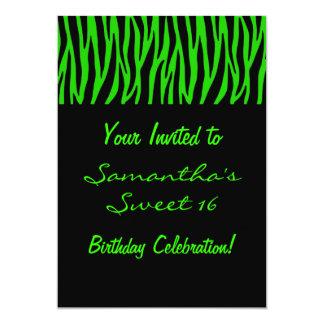 """Cebra verde invitación 5"""" x 7"""""""