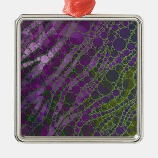 Cebra verde púrpura psicodélica adorno navideño cuadrado de metal