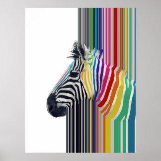 cebra vibrante colorida de moda impresionante de l