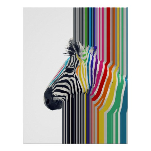 cebra vibrante colorida de moda impresionante de l impresiones