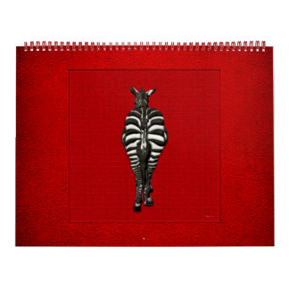 Cebra: Vista posterior en rojo Calendario De Pared