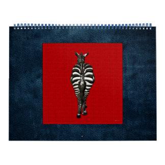 Cebra: Vista posterior en rojo Calendarios
