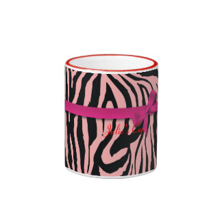 Cebra y cintas rosadas taza de café