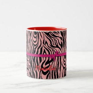 Cebra y cintas rosadas tazas