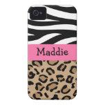 Cebra y estampado leopardo personalizados con nomb iPhone 4 Case-Mate funda