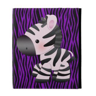 Cebra y falsa caja púrpura del iPad del estampado