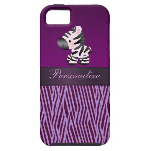 Cebra y falso estampado de animales púrpura de la  iPhone 5 funda