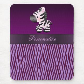 Cebra y falso estampado de animales púrpura Mousep Tapete De Ratones