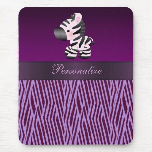 Cebra y falso estampado de animales púrpura Mousep Tapetes De Ratón