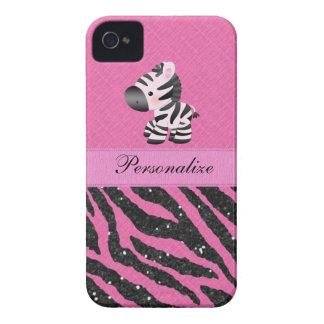 Cebra y falso estampado de animales rosado y negro iPhone 4 protectores