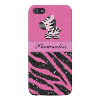 Cebra y falso estampado de animales rosado y negro iPhone 5 carcasa