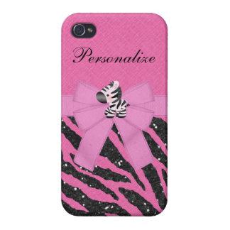 Cebra y falso estampado de animales rosado y negro iPhone 4/4S fundas