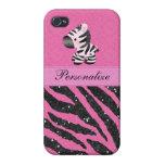 Cebra y falso estampado de animales rosado y negro iPhone 4/4S carcasas