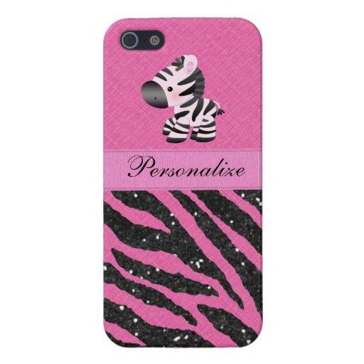 Cebra y falso estampado de animales rosado y negro iPhone 5 funda