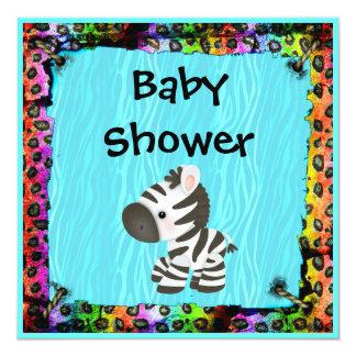 Cebra y fiesta de bienvenida al bebé enrrollada invitacion personalizada