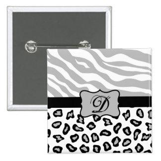 Cebra y guepardo grises, negros y blancos pin cuadrada 5 cm