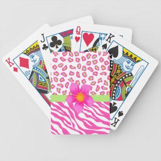 Cebra y guepardo rosado, blanco y verde y flor barajas de cartas