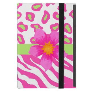Cebra y guepardo rosado, blanco y verde y flor iPad mini cárcasas