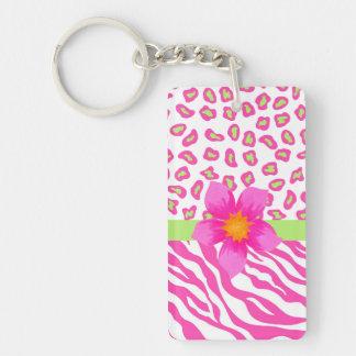 Cebra y guepardo rosado, blanco y verde y flor llavero rectangular acrílico a doble cara
