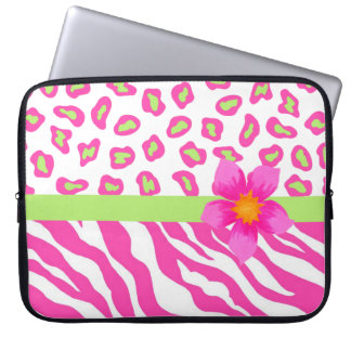 Cebra y guepardo rosado, blanco y verde y flor manga portátil