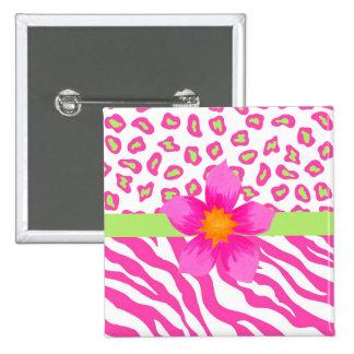 Cebra y guepardo rosado, blanco y verde y flor pin cuadrado