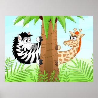 Cebra y jirafa de ocultación póster