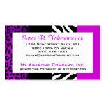 Cebra y leopardo púrpuras y negros del estampado d tarjetas de visita