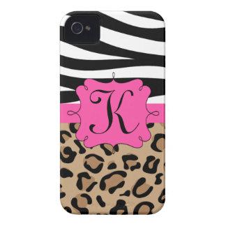 Cebra y monograma personalizado estampado leopardo Case-Mate iPhone 4 cárcasa
