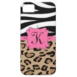 Cebra y monograma personalizado estampado leopardo iPhone 5 carcasa