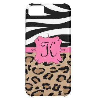 Cebra y monograma personalizado estampado leopardo funda para iPhone 5C
