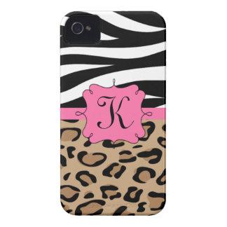Cebra y monograma personalizado estampado leopardo iPhone 4 Case-Mate cárcasa