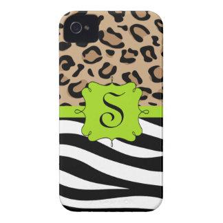 Cebra y monograma personalizado estampado leopardo iPhone 4 Case-Mate carcasas
