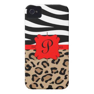 Cebra y monograma personalizado estampado leopardo iPhone 4 coberturas