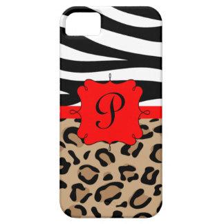 Cebra y monograma personalizado estampado leopardo iPhone 5 funda