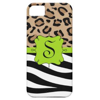 Cebra y monograma personalizado estampado leopardo iPhone 5 fundas